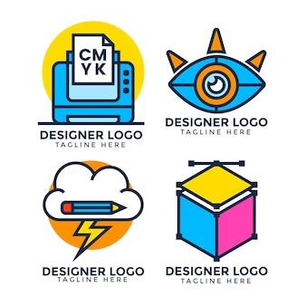 Grafikdesigner-logo-pack mit flachem design