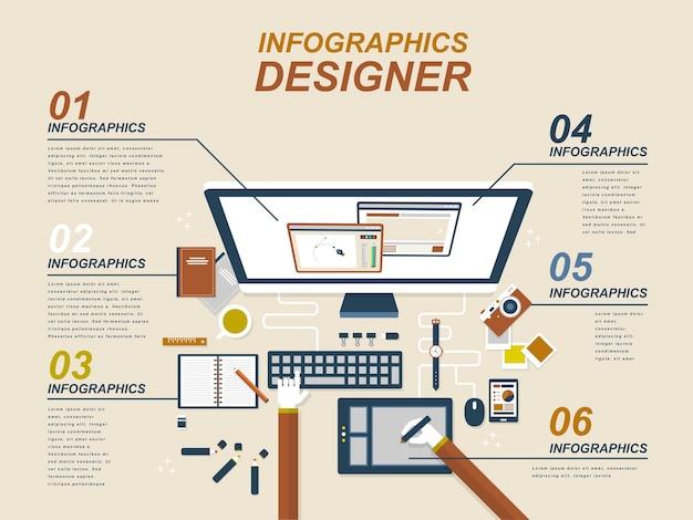 Grafikdesigner mit geräten und grafiktablett im flachen stil