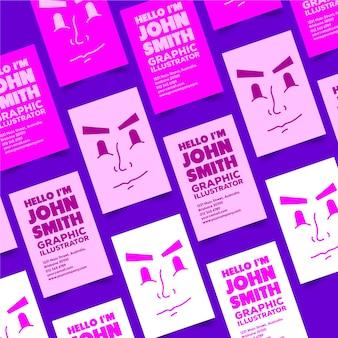 Grafikdesigner-visitenkarte mit lustigem gesicht