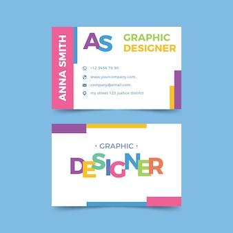 Grafikdesigner-visitenkarte mit lustiger schablone