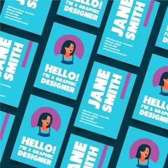 Grafikdesigner-visitenkarte mit personenavatara