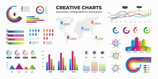 Grafiken und diagramme. geschäftsstatistiken zur daten- und finanzanalyse, sammlung von visualisierungen