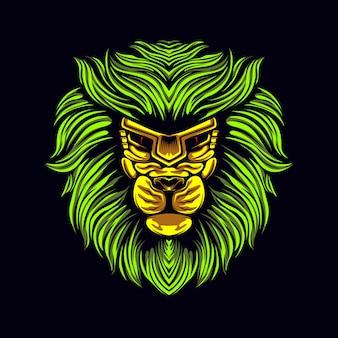 Grafikillustration des grünen löwes