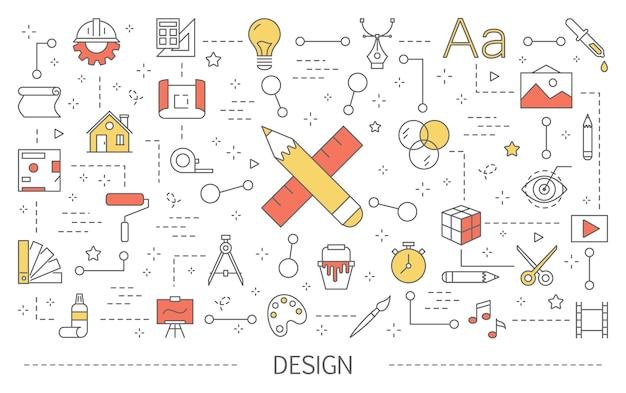 Grafikkonzept. kreatives denken und computertechnologie. von der idee zum produkt. satz bunte kunstikonen. illustration