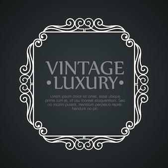 Grafikrahmen mit ornament für klassisches etikettendesign