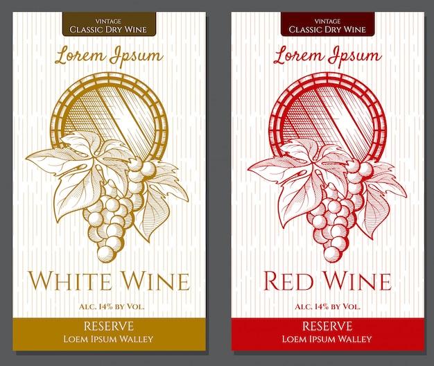 Grafikset mit 2 etiketten für weiß- und rotweine mit weinelementen