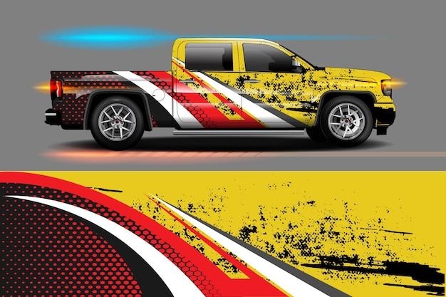 Grafische abstrakte streifendesigns für branding- und drift-lackierauto