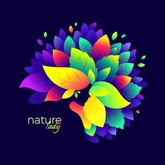 Grafische bunte naturdamenillustration