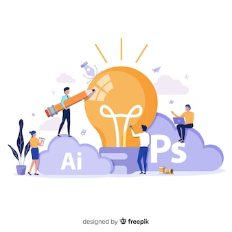 Grafische designteam, das idee entwickelt