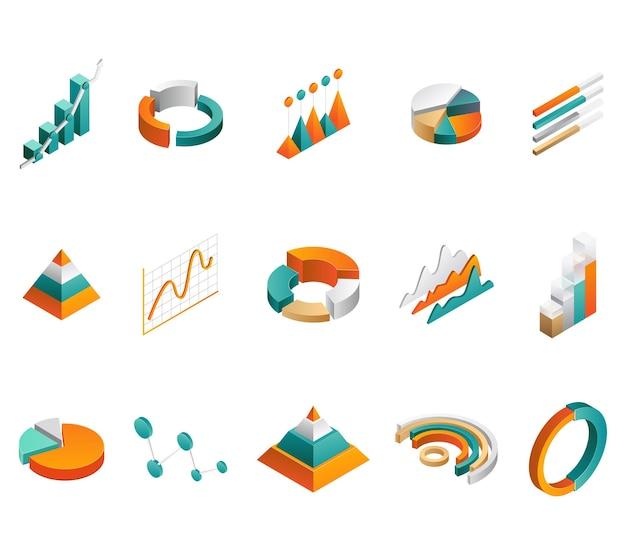 Grafische diagramme 3d-diagramme tortendiagramme und isometrische elemente für geschäftsinfografiken