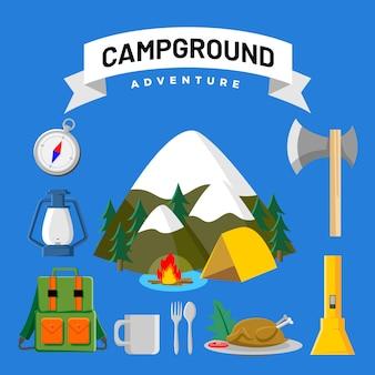 Grafische elemente des campingplatzes