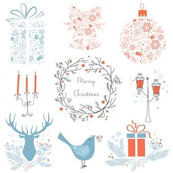 Grafische elementikonen der weihnachtsnatur