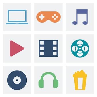 Grafische ikonenillustration des unterhaltungskonzeptes