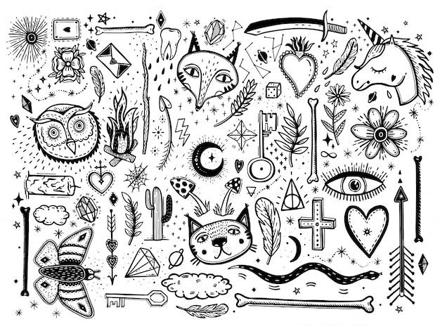 Grafische illustration der skizze mit mystischem und geheimnisvoller hand gezeichnetem großem satz der symbole.