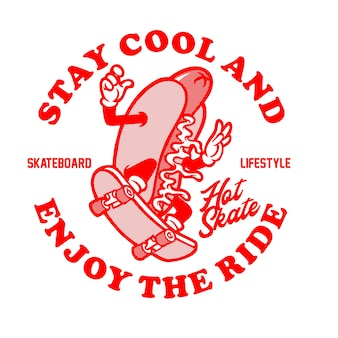 Grafische illustration des hot-dog-skates