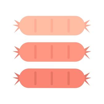 Grafische illustration mit drei geschmackvollen würsten
