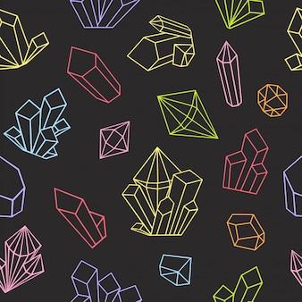 Grafische kristalle im strichgrafikstil gezeichnet. nahtloses muster. malbuchseite für erwachsene. helle farben auf schwarzem hintergrund.