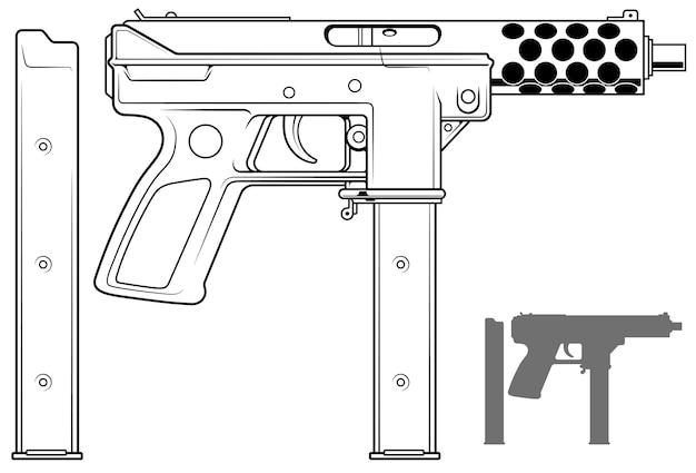 Grafische maschinenpistole mit munitionsclip