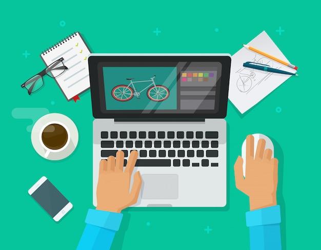 Grafische person, die auf arbeitstisch sitzt und bild auf laptop-computer illustriert