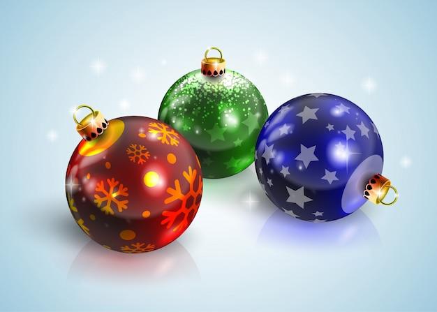 Grafische realistische glänzende weihnachtsbälle des neuen jahres