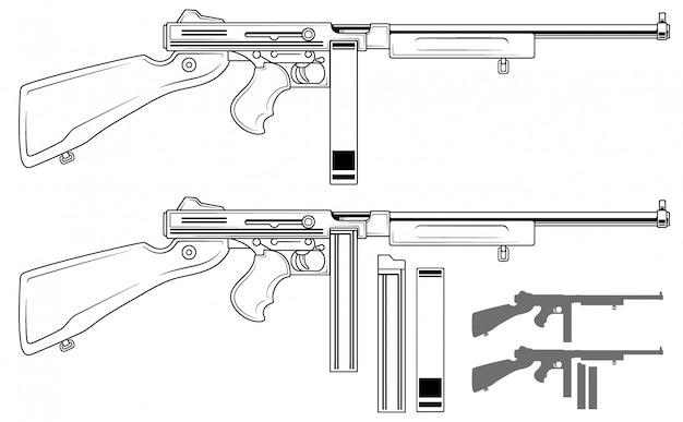 Grafische retro-maschinenpistole mit munitionsclip