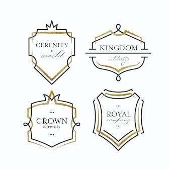 Grafische schilde mit geometrisch zerkratzten formen, vorgefertigten schwarzen und goldenen logos und rahmen