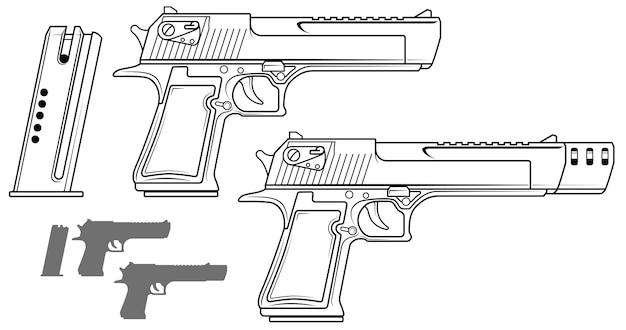 Grafische schwarz-weiß-pistole mit munitionsclip