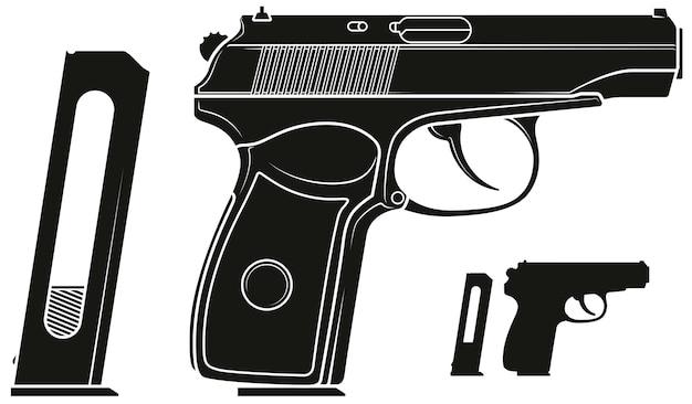 Grafische silhouette pistolenpistole mit munitionsclip