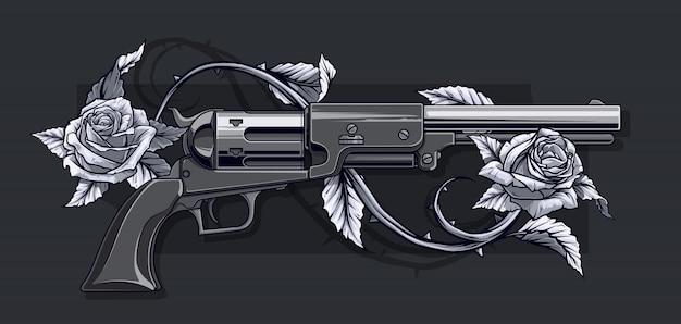 Grafischer detaillierter alter revolver mit rosen
