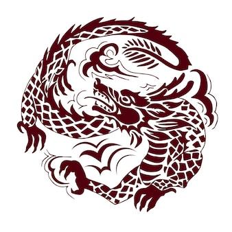 Grafischer drache im chinesischen stil, rund komponiert