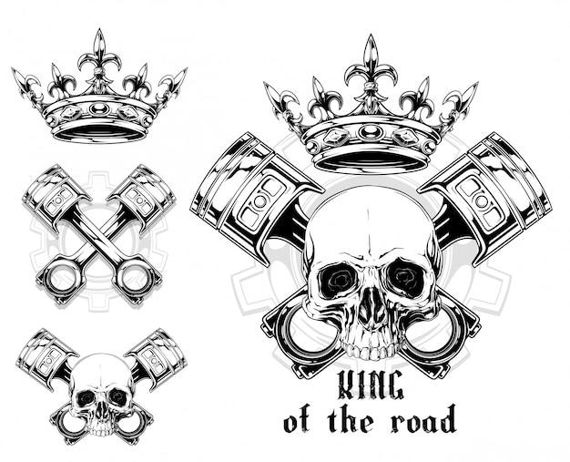 Grafischer menschlicher schädel mit gekreuztem kolben und krone