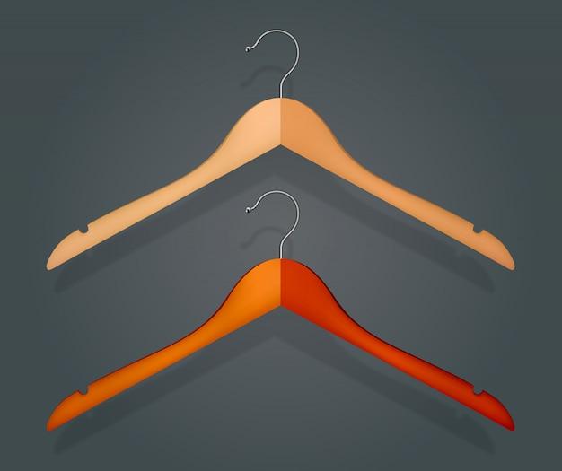 Grafischer realistischer hölzerner kleiderbügel