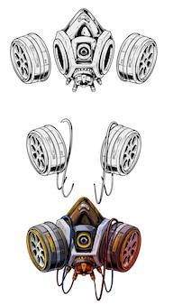 Grafisches ausführliches schutzgasmasken-atemschutzgerät