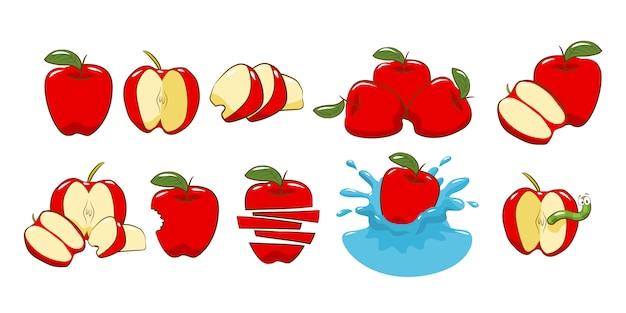 Grafisches clipart-design der apple-set-sammlung
