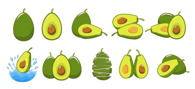 Grafisches clipart-design der avocado-set-sammlung