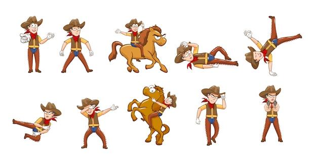 Grafisches clipart-design der cowboy-set-sammlung