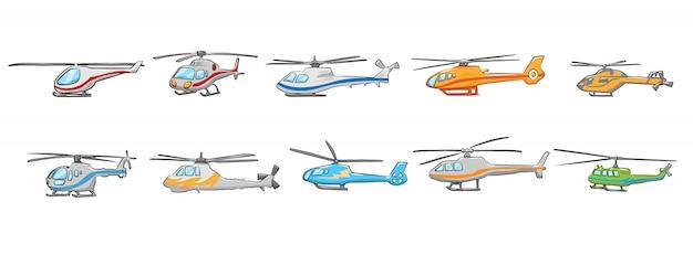 Grafisches clipart-design der hubschrauberset-sammlung