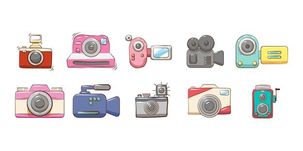 Grafisches clipart-design der kamera-set-sammlung