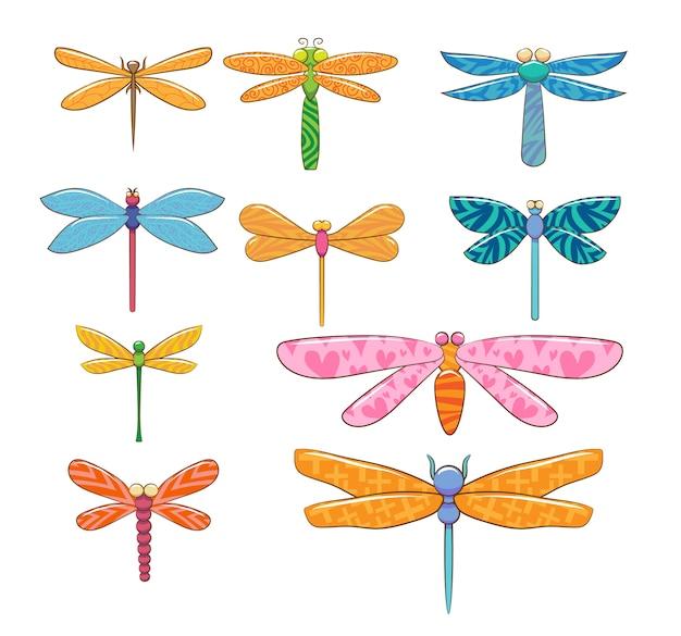 Grafisches clipart-design der libellenset-sammlung