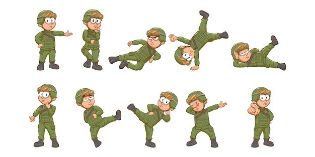 Grafisches clipart-design der soldaten-set-sammlung
