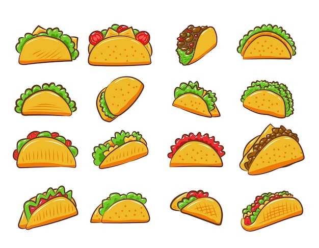 Grafisches clipart-design der taco-vektorsatzsammlung