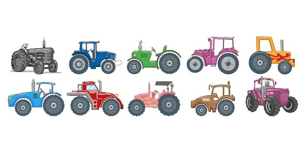 Grafisches clipart-design der traktorset-sammlung