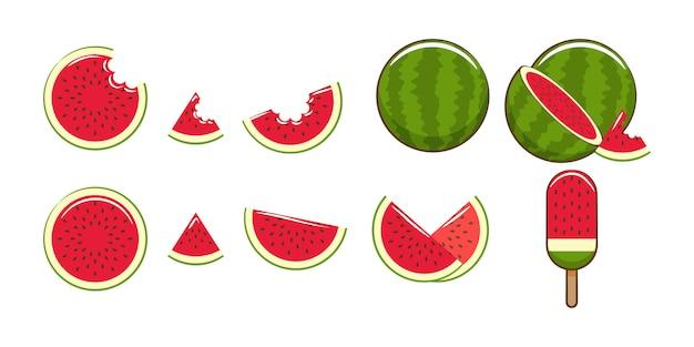 Grafisches clipart-design der wassermelonenset-sammlung