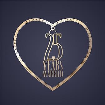 Grafisches gestaltungselement mit goldenem farbherz zur dekoration für hochzeit zum 25. jahrestag