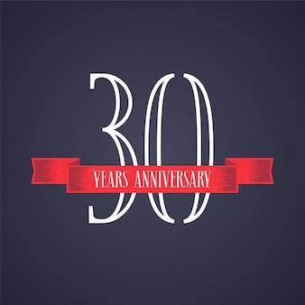Grafisches gestaltungselement mit rotem band und nummer für 30-jähriges jubiläum
