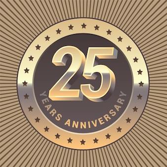 Grafisches gestaltungselement oder emblem als goldene medaille zum 25-jährigen jubiläum