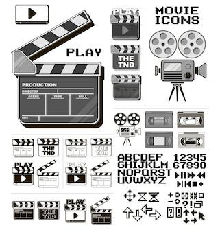 Grafisches kino und großer ikonenvektorsatz des films