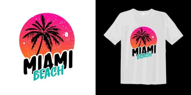 Grafisches stilvolles t-shirt des miami beach mit palmenschattenbild