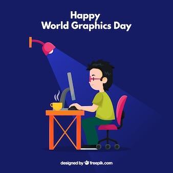 Grafisches Tagesdesign der Welt mit Mann am Schreibtisch