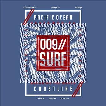 Grafisches typografieentwurf des städtischen strandkonzeptes für bereites druckt-shirt